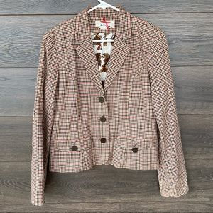 BEN SHERMAN | Brown Checkered Plaid Suit Jacket